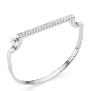 Monica vinader Diamond bangle bracelet silver NEW